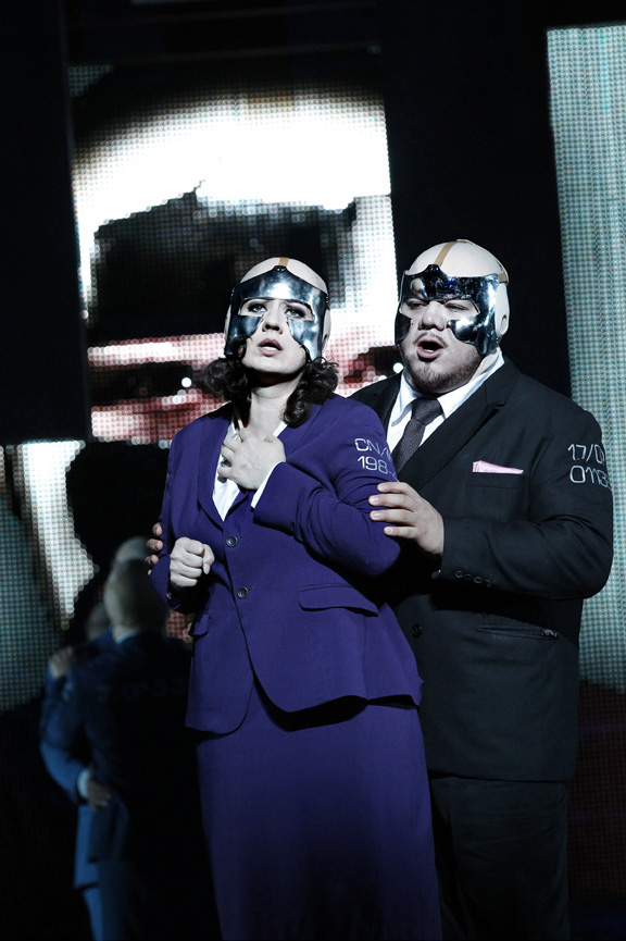 Csilla Boross as Amelia and Diego Torre as Gustav III in Opera Australias production of A Masked Ball. Photograph by Jeff Busby