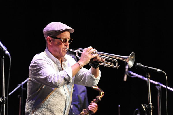 DAVE DOUGLAS - white shirt and cap playing trumpet smaller for online
