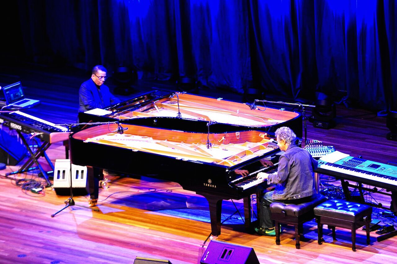 Herbie Hancock and Chick Corea (photograph by Kim Densham)
