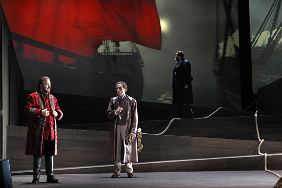 Oskar Hillebrandt Warwick Fyfe Carlos E Bárcenas in The Flying Dutchman photograph by Jeff Busby