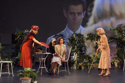 Susan Prior Paula Arundell Eryn Jean Norvill Robyn Nevin foreground Mark Leonard Winter background in Sydney Theatre Companys production of Suddenly Last Summer photograph by Brett Boardma