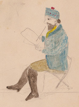 Portrait of von Guerard sketching, 1855 by Black Johnny (Mitchell Library, State Library of New South Wales)
