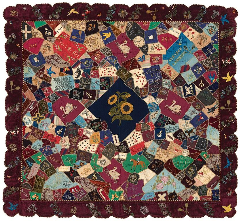 Crazy Quilt 1888 by Sarah Louise Lording