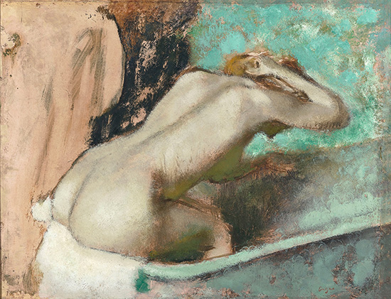 Woman seated on the edge of the bath sponging her neck (1880–95) (Musée d'Orsay)