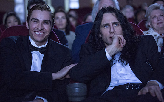 Dave Franco as Greg Sestero and James Franco as Tommy Wiseau in The Disaster Artist Roadshow Films