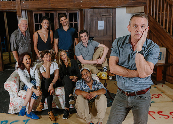 The cast of Queensland Theatre and Melbourne Theatre Companys Noises Off