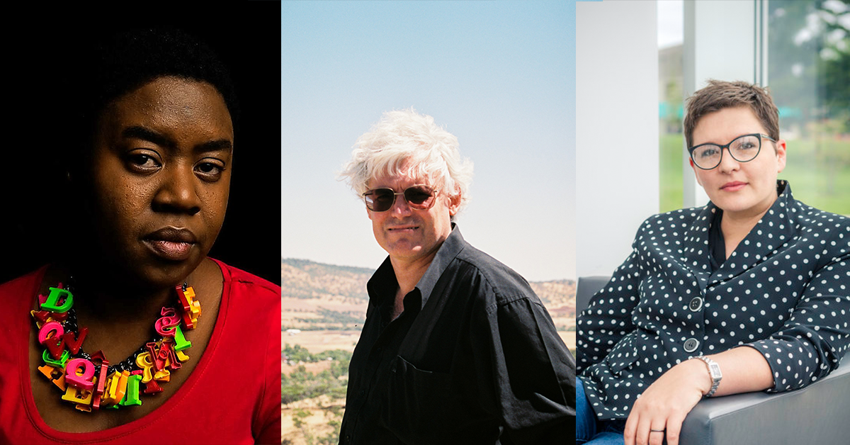 The Jolley Prize judges: Maxine Beneba Clarke, John Kinsella, and Beejay Silcox