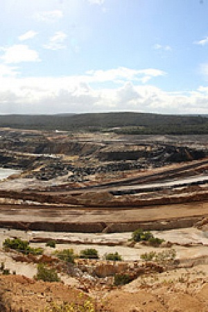Panorama-anglesea-open-cut-coal-mine-power-station photograph by John Englart