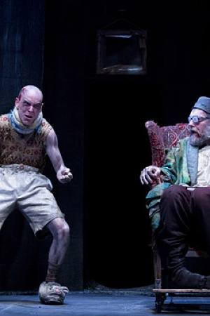 Hugo Weaving as Hamm and Tom Budge as Clov in Sydney Theatre Companys Endgame photograph by Lisa Tomasetti