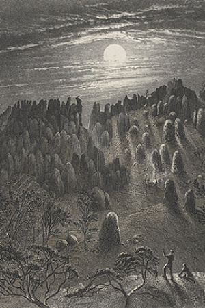 William Blandowski engraving of Hanging Rock 550